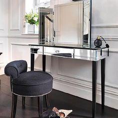 Art Deco Mirrored Vanity, Hollywood Regency, Closet