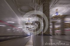 A blurred abstract view of a famous metro station in Saint Petersburg