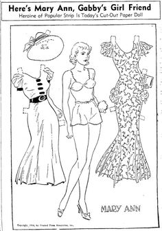 Gabby Gibb's  pretty little girl friend, Mary Ann cut-out paper doll August 1935