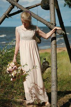 38c437d8e2008 Dusty pink, sand silk chiffon,viscose, lace bridal gown, maternity wedding  dress empire cut- made by