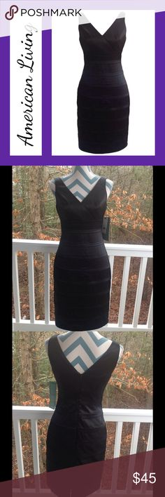 Black Satin Dress from American Living Stunning black satin dress fromAmerican Living. Beautiful banding detail. V-neck front and back. Size 4. Length: 37 inches. Underarm to underarm: 16 inches. Materials: 96% polyester, 4% elastane. American Living Dresses