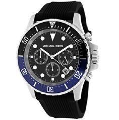 04c95285425d Michael kors mk8365 men s chronograph everest black dial black silicone  band nwt