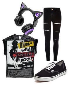 """Girls DJ Cat"" by gryffindor101-269 on Polyvore featuring River Island, Brookstone and Vans"