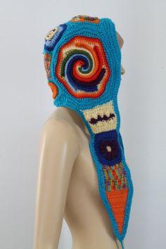 Rainbow  Freeform  Crochet   Hooded Scarf - Hat - Ear Flap - Winter Accessories - OOAK - Boho Gypsy Hippie