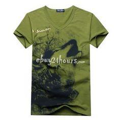 Fashionable Short Sleeve V Neck Wild Wolf Tee Shirts  Price: $13.99