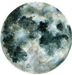 Wonderful watercolor full moon drawing with bluish tones. Tattoos Skull, Tribal Tattoos, Tatoos, Trendy Tattoos, New Tattoos, Cool Tattoos, Constellations, Realistic Moon Tattoo, Moon Sketches
