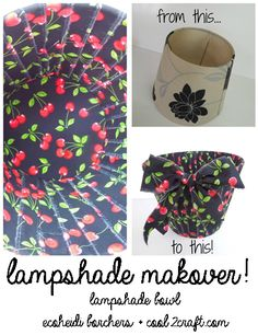 This lampshade bowl by EcoHeidi Borchers is SO adorable! Love the cherries print fabric. Great way to upcycle lampshades!