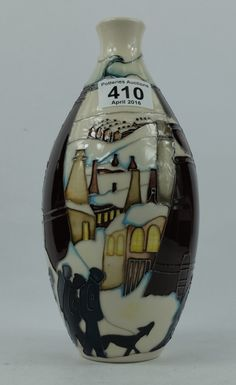 Top 25 Highest Selling Lots - Collectors & General Auction – Lot 410 – Moorcroft Chimneys in the snow vase height 24cm.  Sale Price £190.00