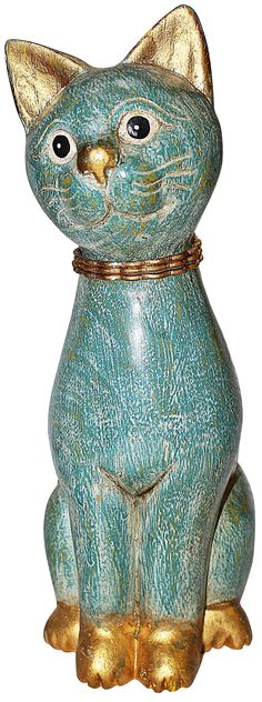 """Irresistible painted carved wood cat with gold Siamese features, wire collar. Nominal wear. Улыбающийся резной кот в середине века $ 86  Размеры 4,5 """"W × 5,5"""" D × 13,0 """"H"""