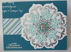 Festive Flurry in a Daydream--Stamps: Daydream Medallions, Festive Flurry, Petite Pairs Tools/Accessories: Big Shot, Floral Frames framelits, Festive Flurry framelits, 7/8″ Scalloped Circle punch, Stampin' Trimmer, White embossing powder, Silver embossing powder, Heat Tool Embellishments/Adhesives: Frosted Finishes, Rhinestone Basic Jewels, Stampin' Dimensionals, Glue Dots