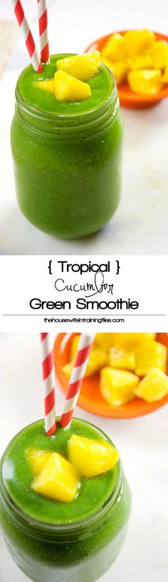 Take a trip to the tropics with this tropical green smoothie filled with hydrating cucumber, mango and fresh pineapple to help energize your day!