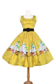 Aurora Dress in Mary Blair Train Border Print #pinup #Pinup #yellow