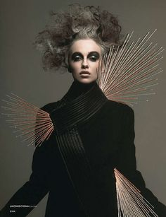 Metallic Female Photography - This Dark Beauty Series Contains Odd Hair and Metallic Elements (GALLERY)
