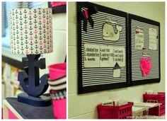 Nautical Classroom: anchor lamp, whales, stripes, and bows… Teacher Classroom Decorations, Classroom Design, Kindergarten Classroom, Future Classroom, Classroom Themes, School Classroom, Chevron Classroom, Teacher Organization, Teacher Hacks