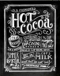 Chalkboard art ToniKami ⊱CհαƖҜ ℒЇℕ℮⊰ Hot cocoa recipe scoutmob.com