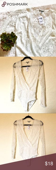 """NWT Lace Bodysuit SZ Small This new with tags white lace bodysuit comes in a size small, from Charlotte Russe. Measurements are: Pit to Pit-15"""", length-26"""", arms-23.5"""". Charlotte Russe Tops"""