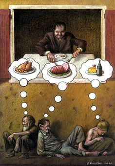 Polish illustrator Pawel Kuczynski portrays the misleading political and social situation of our time in satirical illustrations. The images have both a humoristic and a serious dimension.