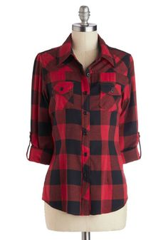 Simply Scout Top in Red - Mid-length, Cotton, Woven, Red, Black, Buttons, Casual, Checkered / Gingham, Pockets, Rustic, 3/4 Sleeve, Fall, Co...