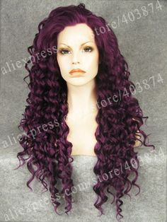 43.34$  Watch here - http://ali6w5.worldwells.pw/go.php?t=2017592977 - N18-3700# 26inch Long Afro Kinky Curly Purple Color Synthetic Lace Front Wigs for Cosplay Party Wigs 43.34$