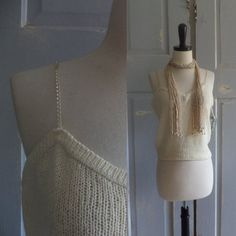 1970s Strappy Beaded Silk Party Sweater $32.00