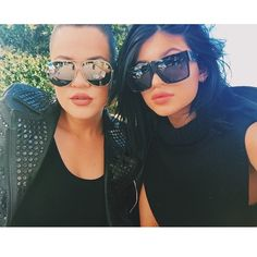 ♚queen glam♚ Both Kardashian sisters wearing sunglasses. Get their look!