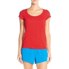 Zella 'Sunny Run' Short Sleeve Tee ($28) ❤ liked on Polyvore featuring activewear, activewear tops, red blaze, zella sportswear, zella activewear, neon activewear and zella