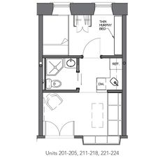 A micro apartment floor plan from the Westminster Arcade in
