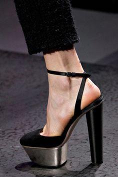 Giambattista Valli Metallic Platform Ankle Strap Sandal Fall 2012 RTW #Shoes #Heels