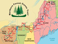 The Northern Forest Canoe Trail is a inland water trail in the northeastern United States. The Northern Forest Canoe Trail, Inc. is a member-supported nonprofit that publishes a guidebook and 13 maps. Jenn here we goooo, i can see Alissa's face now! Canoe Camping, Canoe Trip, Canoe And Kayak, Outdoor Camping, Outdoor Life, Map Of New York, Forest Map, Trail Maps, Hiking
