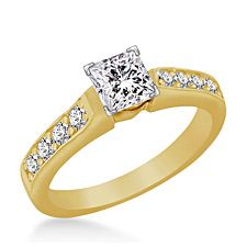 Princess Cut Diamond Ring With Pave Set Sidestone Accents In 18K Yellow Gold (3/4 cttw) http://balori.com/pins/3239