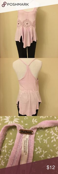 Free People Pink embroidered tank Free People XS pink embroidered razor back tank. 55% linen 45% cotton in good condition. Free People Tops Tank Tops