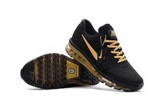 Nike Air Max 2017 Men Shoes Black Gold KPU Shoes