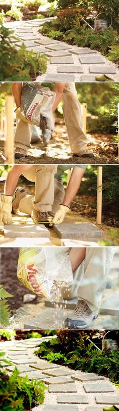 Take stock of your project area and the paver size, type and quantities you'll need to complete your path. The instructions here are fo. Paver Path, Stone Walkway, Paver Stones, Outdoor Landscaping, Landscaping Ideas, Outdoor Curtains, Old Bricks, Farm Gardens, Garden Structures