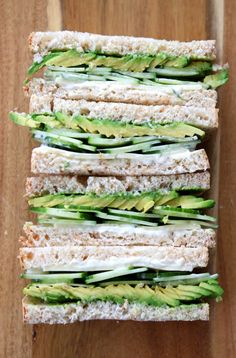 Cucumber Avocado Sandwich with Dill Havarti - Clean Eats & Treats Cucumber Sandwiches, Veggie Sandwich, Healthy Sandwiches, Avocado Sandwich Recipes, Light Sandwiches, Delicious Sandwiches, Cucumber Recipes, Lunch Recipes, Vegetarian Recipes