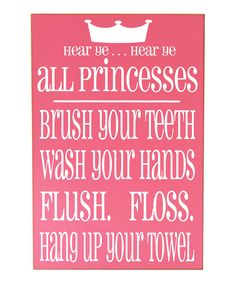 Pink & White 'Princesses' Bathroom Rules Wall Art