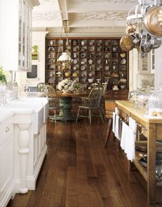 Floor stain Modern and Classic Eat In Kitchen I love distressed wood with white.