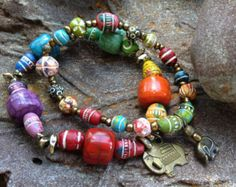Fair Trade & Handcrafted Indian Clay Beads on Etsy Stack Bracelets, Boho Chic, Bohemian, Ethnic Style, Clay Beads, Ethnic Fashion, Stone Beads, Fair Trade, Photo Cards