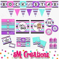 Rock Star Birthday Party Printable Decorations Package - Rock N Roll Party - Rock Star Banner Cupca Star Banner, Pennant Banners, Party Rock, Rockstar Party, Happy Birthday Baby Girl, Taylor Swift Party, Lollipop Sticks, Tent Cards, Party Signs
