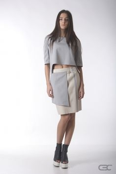 Crepe Black Collar grey warm top and cream leather skirt with grey accessory. Check out the online shop for details. Fall Winter 2014, Leather Skirt, Dresses For Work, Warm, Cream, Skirts, Clothes, Shopping, Collection