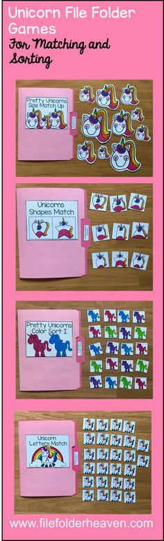 This Unicorn File Folder Games Mini-Bundle focuses on basic matching and sorting skills and is oh so cute! ;)  This set includes 9 unique file folder games with two bonus games for differentiation (for a total of 11 games!) These activities focus on basic skills, such as matching picture to picture, matching shapes, shape words, matching numbers, sequencing numbers, matching letters, matching by size, sorting by size, sorting by color, sorting by likeness and differences Numbers Preschool, Preschool Themes, Matching Shapes, Autism Teaching, Number Sequence, File Folder Games, School Games, Hands On Activities, Differentiation