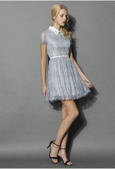Delicate Lace Dress with Beads Collar in Grey - Dress - Retro, Indie and Unique Fashion