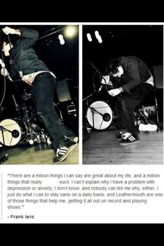 Frank knows how we feel when we say that MCR helps us. Mcr Quotes, Mcr Memes, Band Quotes, Band Memes, Emo Bands, Music Bands, My Chemical Romance, Rock Music, My Music