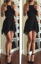 2016 günstige Schwarz Chiffon Neckholder Homecoming Kleider Ärmel Asymmetrische Short Kleider mit Reißverschluss Zurück //Price: $US $69.23 & FREE Shipping //     #cocktailkleider