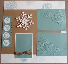 Cute Scrapbook page made with Delicate Doilies stamp set by Stampin' Up!  Also Stampin' Up!'s Lovely Letters Alphabet, Scallop Punch, Northern Flurry Embossing Folder and Stampin' Up!'s Bold Snowflake Die (retired).