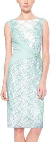 Embroidered Tulle and Pleated Boat-Neck Dress, Light Blue