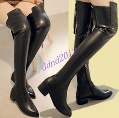 Women-New-Real-Leather-Warm-Thigh-High-Over-Knee-Flat-Riding-Boots-Shoes