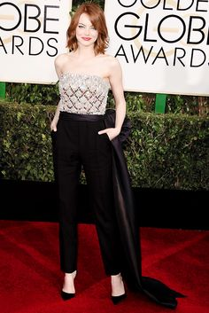 """"""" Emma Stone attends the 72nd Annual Golden Globe Awards 2015. """" My best dressed vote"""
