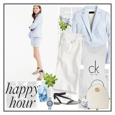 """Bottoms Up: Happy Hour♥♥♥"" by marthalux ❤ liked on Polyvore featuring J.Crew, Calvin Klein, Gucci, GUESS, Victoria Beckham, StreetStyle, summertime, bottoms and happyhour"