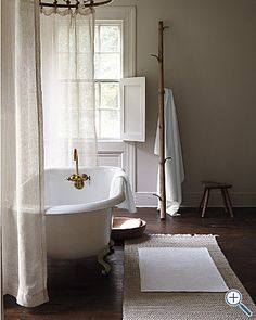 Eileen Fisher Seedpod bathrugs. Thin and textured for the bath floor.