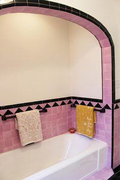 Pink and black vintage tile bathroom